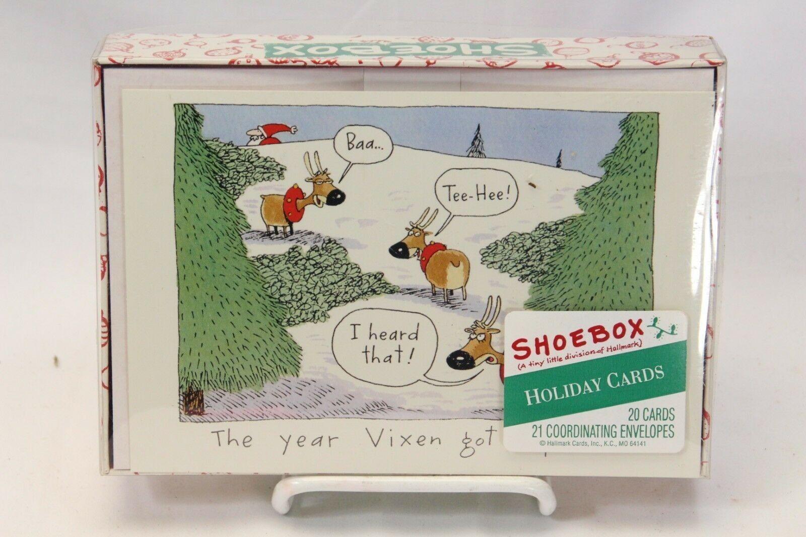 Hallmark chaussuresbox Xmas Cards Vixen got a Perm Lot of 4 with 20 cards each