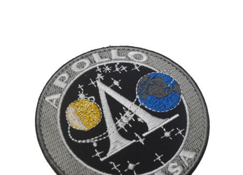 NASA APOLLO Space Program Morale Hook Patch Embroidered Badge Gray Dark Blue