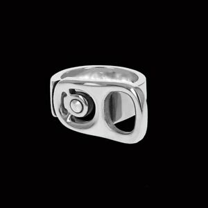 """Solid 925 Sterling Silver """"BEER TAB"""" Design Fashion Ring For Men's"""