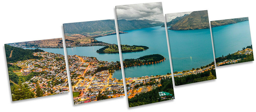 Lienzo Enmarcado Lago Wakatipu Nueva Zelanda impresión impresión Zelanda de cinco paneles de pared Arte e9ddb0