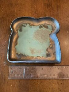 Bronze Glazed with Turquoise Ceramic Toast Dish Plate Studio Pottery Looks Metal