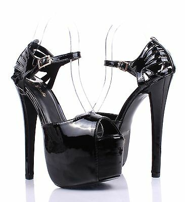 Black Faux Leather Prom Pumps Platform Womens Sandals Open Toe High Heels Size