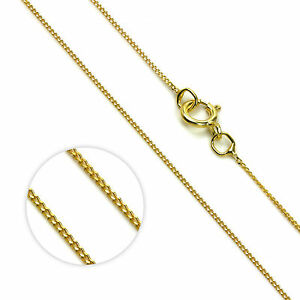 375 9CT Gold Curb Chain 0.9mm 16 18 20 Fine Diamond Cut Link Pendant Necklace Boxed