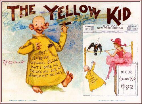 1896 The Yellow Kid Smoke Vintage Cigar Tobacco Box Crate Inner Label Print