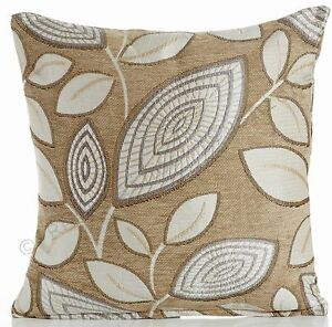 London-Leaf-Cream-Latte-18-034-Chenille-Cushion-Cover-Gold-amp-Taupe-Detail-BNWT