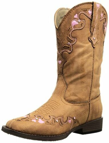 1US Little Toddler//Little Kid Roper Hearts Square Toe Cowgirl Boot