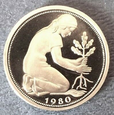 1980 . Girl planting a tree West Germany 50 Pfennig Proof or 1981,1982