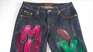 Michael-Vick-Jeans-Juniors-9-10-Womens-Airbrushed-Atlanta-Falcons-32-x-33-Actual