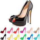 WOMENS PLATFORM PEEP TOE PARTY STILETTO HIGH HEELS COURT SHOES PUMPS SIZE 2-9