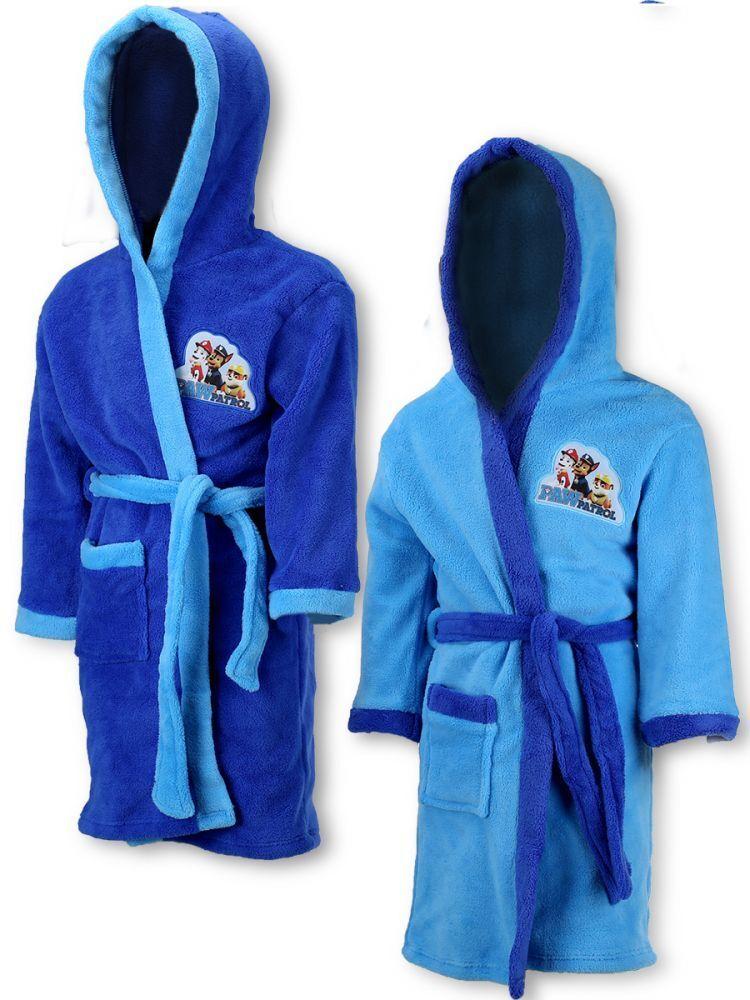 2-8 Years Personalised Name Nickelodeon Paw Patrol Characters Themed Boys Coral Fleece Bathrobe Dressing Gown Towel