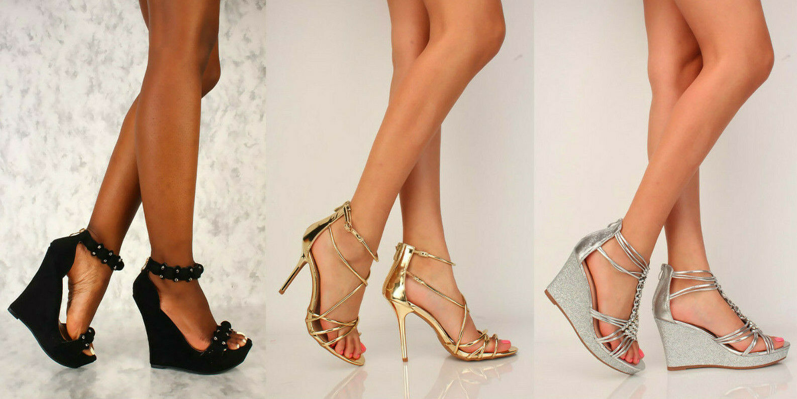 Sexy Black Silver gold OPEN TOE STUDDED CUT OUT PLATFORM WEDGES FAUX SUEDE