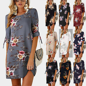 025daee734f UK Womens Floral Long Tops Blouse Ladies Summer Beach Tunic Dress ...