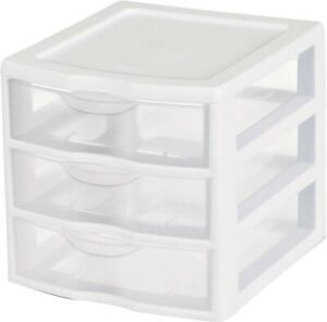 3 Drawer Mini Desktop Clear Plastic Storage Bin Cabinet ...