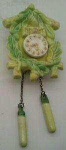 Vintage-Ceramic-Cuckoo-Clock-Wall-Pocket-w-Weights-Planter-Bird-Birdhouse-Acorns
