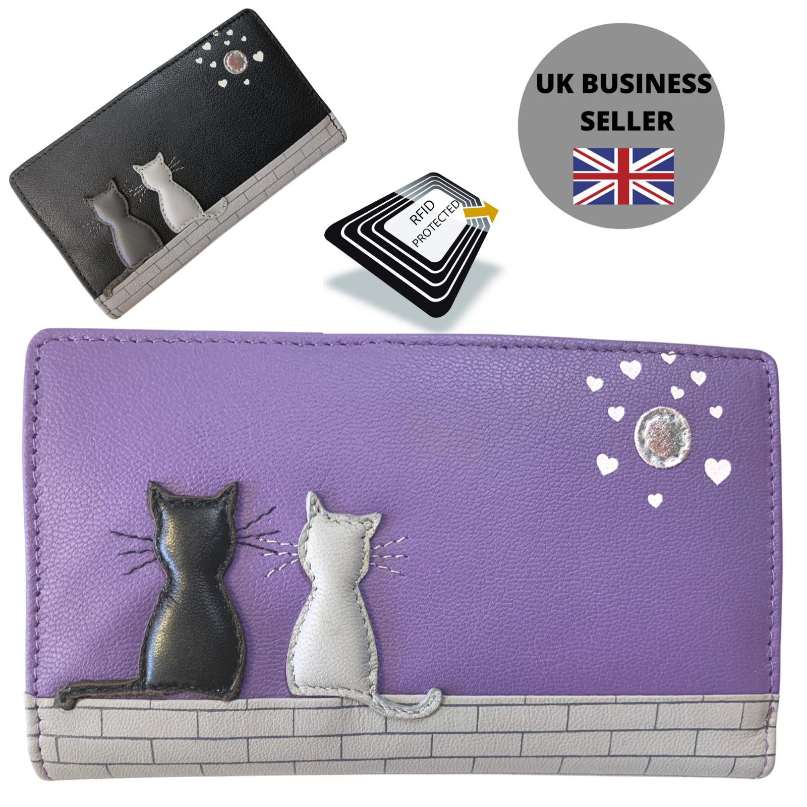 Midnight Black & Grey Cat RFID Bifold PURSE - Mala Leather soft leather 3534 35