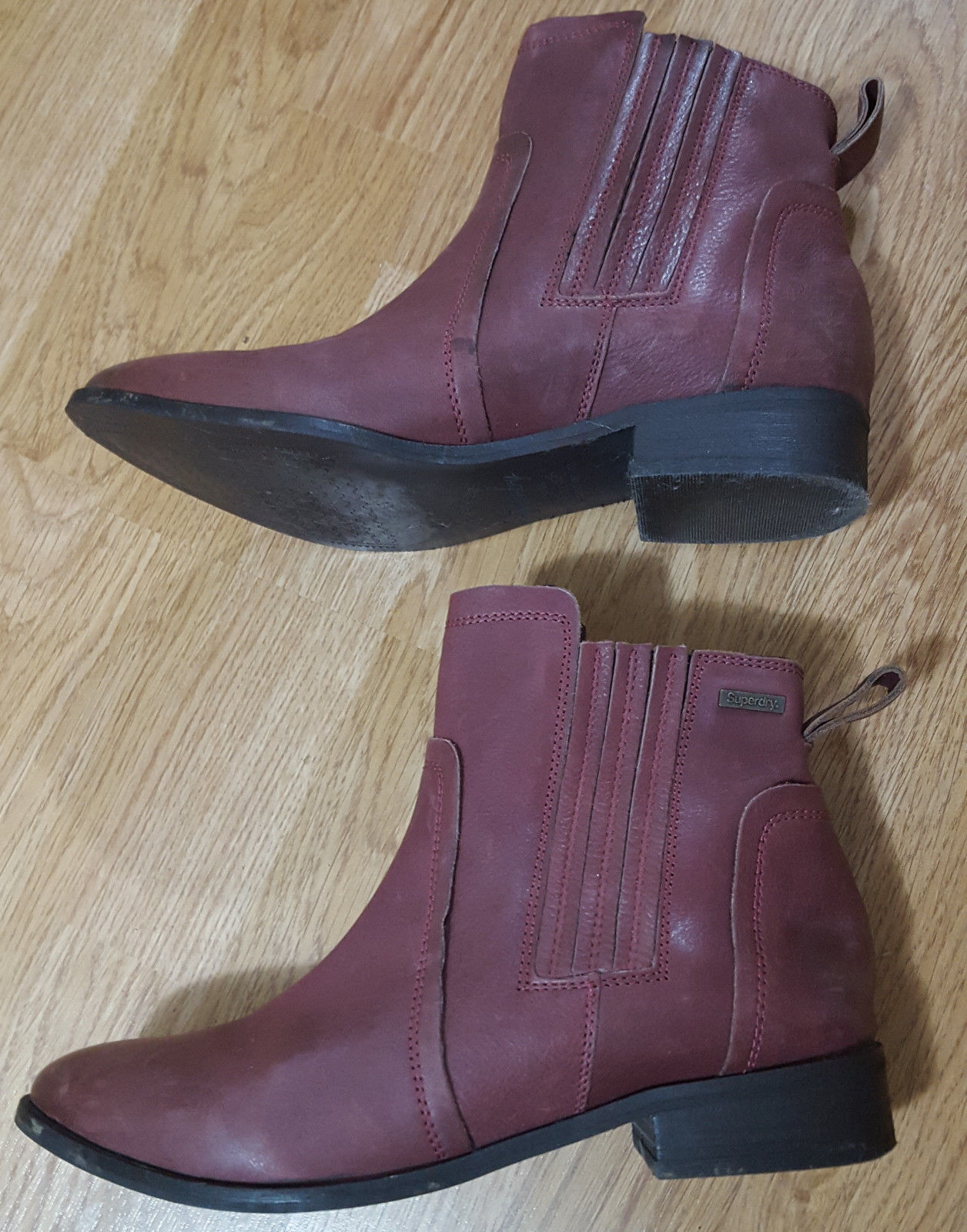 Superdry Superdry Superdry Margot Leather Ankle Boots Elasticated Pull On Maroon Red shoes UK 6 3ca967