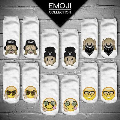 Newest Women 3D Print Casual Emoji Socks Men Unisex Low Cut Ankle Cotton Socks