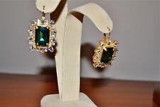 NIB $155 ROCO Rodrigo Otazu Spectacular Emerald Crystal Goldtone Earrings Runway