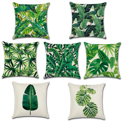 Cushion Cover Tropical Green Leaves Linen Throw ow Case Sofa Home Decor