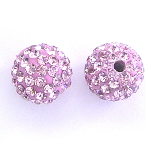 10 Shamballa perles 8 mm 10 mm 12 mm 18 mm Clay Cristal Strass Boule Disco Perles