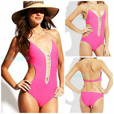 NWT M $96 R COLLECTION by Raisins Monokini Swimsuit Incognito Pink Medium
