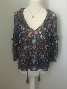 67900da97cc768 BNWOT Mango blue Semi Sheer floral blouse Top with frill detail Size ...