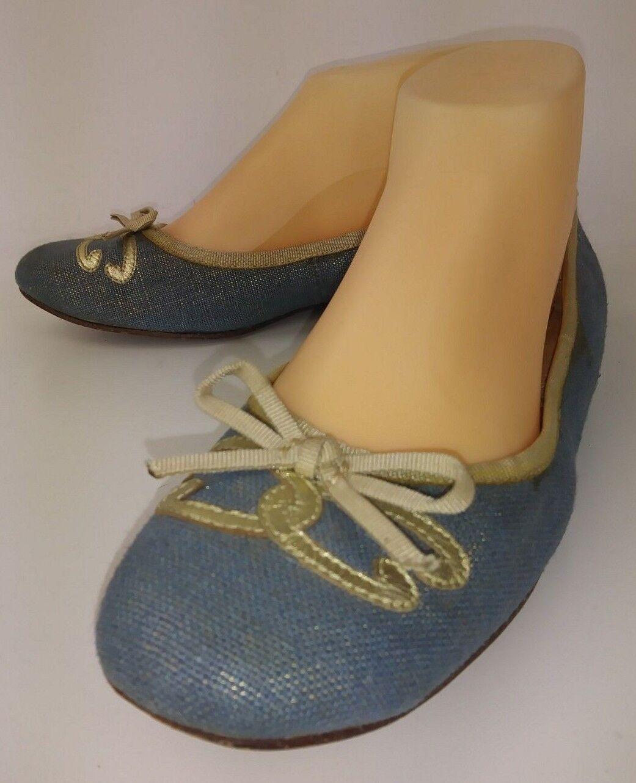 Oscar de la Renta ADINA Womens Flat shoes US 7 M bluee Textile Leather Bow 4792
