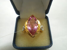 Beautiful Kunzite Quartz & Diamond 14K Y Gold/925 Ring Size O