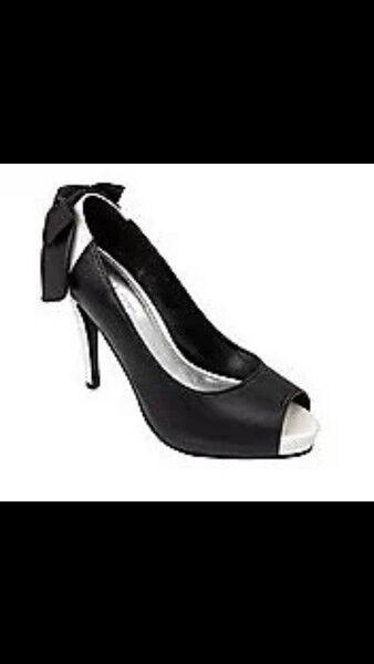 APART Heels Pumps Peep Toe High Heels APART Peeptoe NEU schwarz weiß mit Zierschleife hinten 14f780