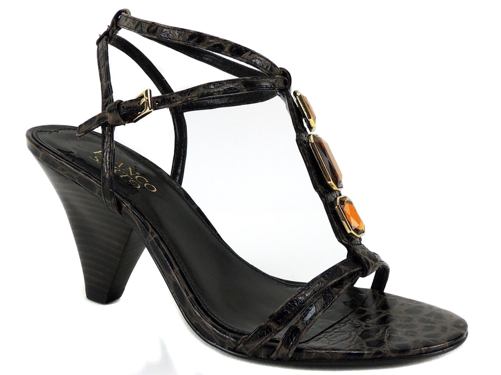Franco Sarto Women's Phuket T-Strap Sandals Brown Snake Print Leather Size 7.5 M