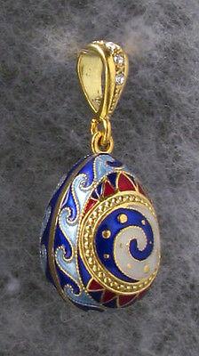 Egg Pendant,Multicolor Enamel,Trypillian Style,Swarovski Crystals SS Gold Plated