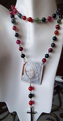 Torre del Greco hand carved sardonyx shell cameo on a rosary necklace with cross