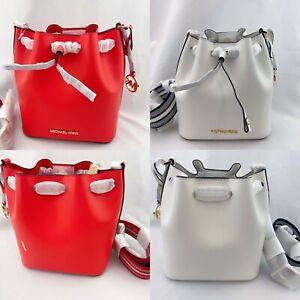 NWT-Michael-Kors-Eden-XS-Leather-Bucket-Bag-Crossbody-Optic-White-Mandarin