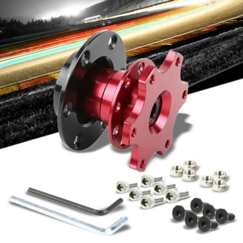 """Red 2/"""" 6-Hole//70mm Pattern Snap-Off Steering Wheel Quick Release Hub Adapter"""