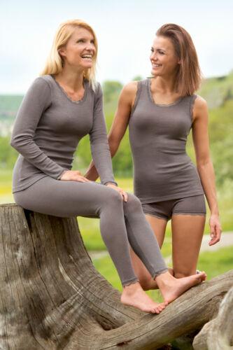 Engel-Natur Damen Pants mit Spitze Wolle Seide Farbe taupe