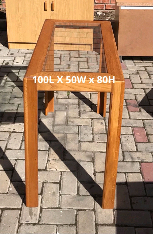 REAL OAK WOOD GLASS TABLE FOR SALE