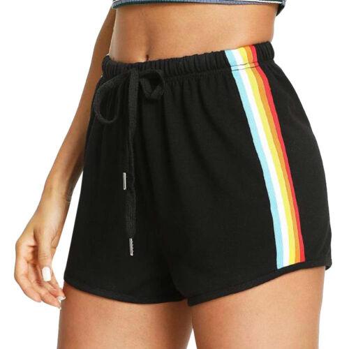 Fashion Womens Casual Sport Rainbow Print Sport Elastic Short Pants Beach Shorts