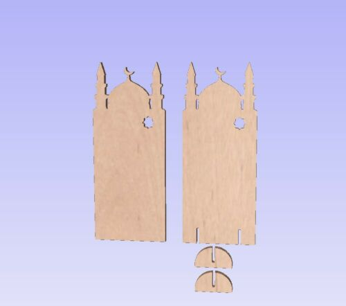 Flat Slot together design 3 Size options Wooden MDF 6mm 3D Peg Doll Mosques