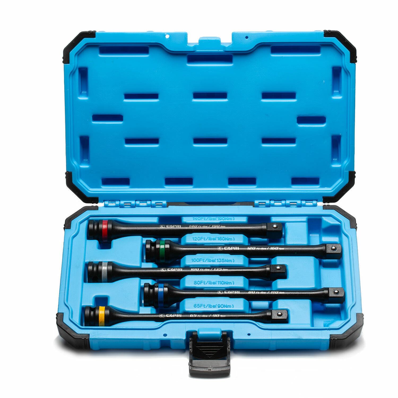 Capri Tools 1 2-Inch Drive 65-140 ft lbs Torque Limiting Extension Bar Set
