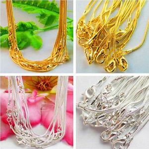 Lots-5-10Pcs-Gold-Silver-Plated-Lobster-Clasp-Snake-Chain-Necklace-Jewelry-43CM