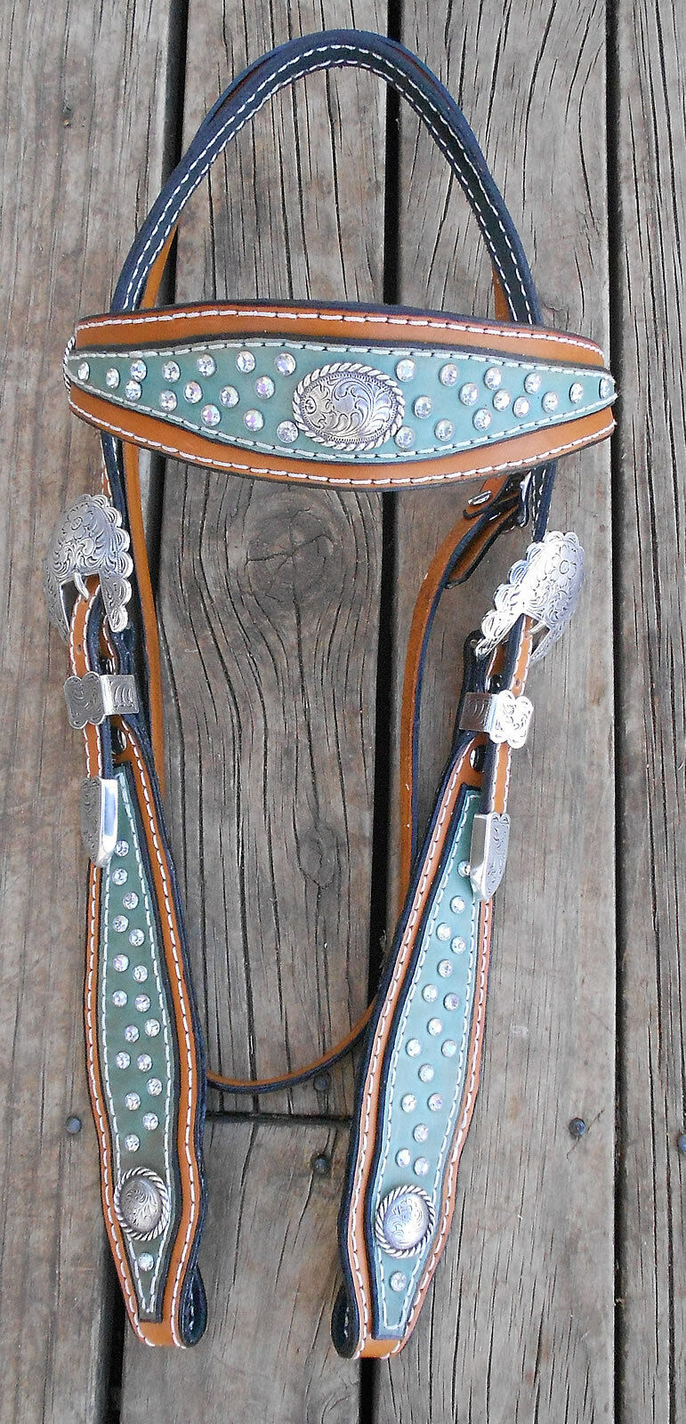 WESTERN SHAPED HEADSTALL with RHINESTONES and CONCHOS -- BARREL  RACER  reasonable price