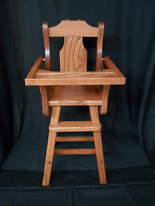 doll high chair solid oak amish handmade handcrafted kids toy rh ebay co uk Vintage Wood Doll High Chair High Chair Amish Furniture
