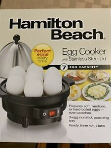 New Hamilton Beach Automatic Electric 7 Egg Cooker and 3 Egg Poacher Model 25503