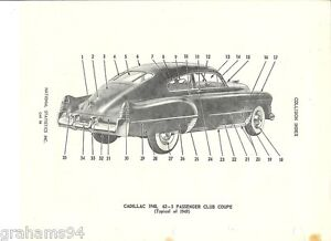Details about 1948 1949 Cadillac Series 62 Coupe Two Door Exterior Body  Trim NOS Parts Guide