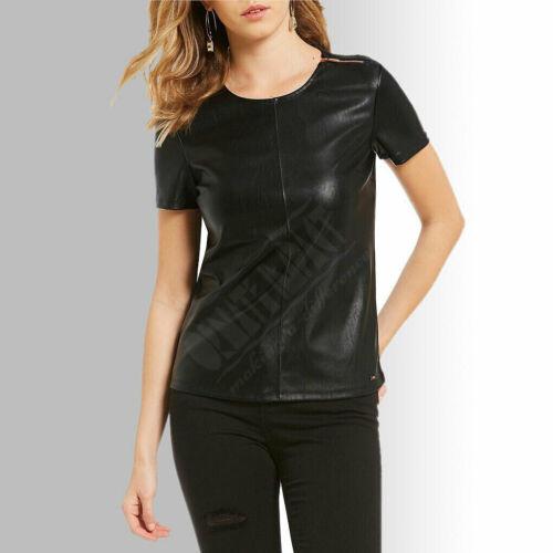 Womens Ladies Real Black Butter soft Sheep NAPPA Lamb Leather Half Sleeves Shirt