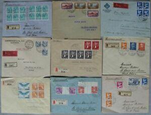 s2054-Schweiz-34-Belege-an-Maurice-Burrus-30er-Jahre-viele-Einschreiben-MeF