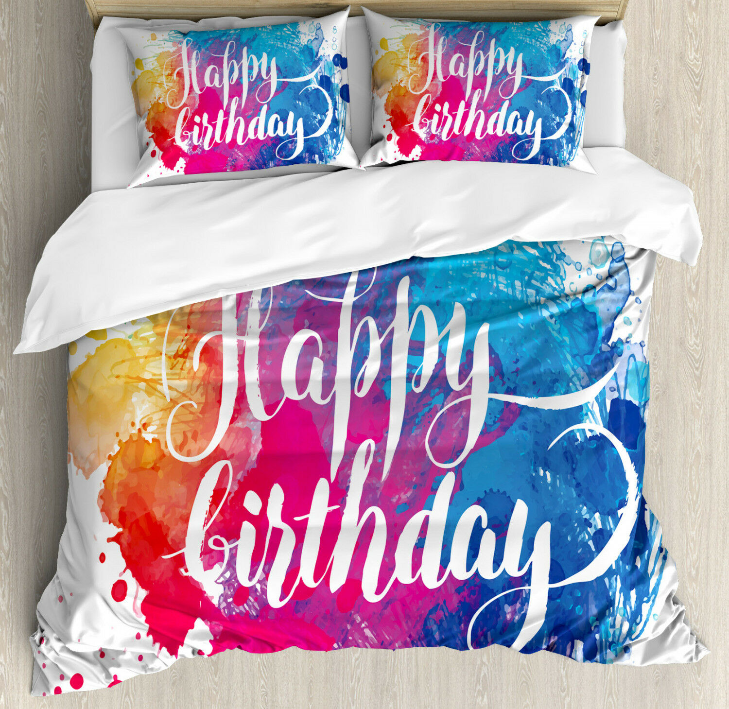 Art Duvet Cover Set with Pillow Shams Birthday Message Coloreeful Print