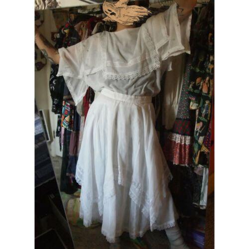👻 vtg 70s gunne sax set blouse skirt Edwardian wh