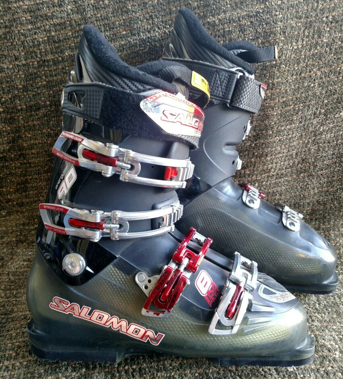 Salomon Impact 8 grey and red 317mm downhill ski boots size 9.5 US men's