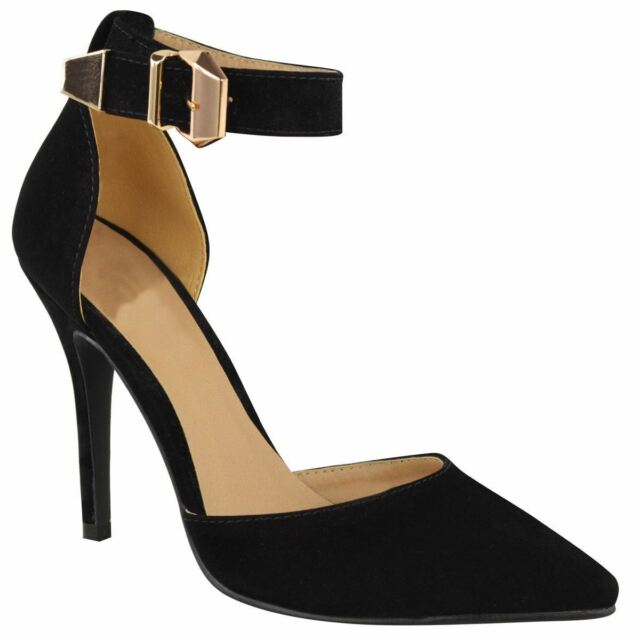 a2e5db60ef7 Womens Stiletto Heel Suede-pu Buckled Ankle Strap Pointed Toe Court Shoes  Black Suede 4 UK